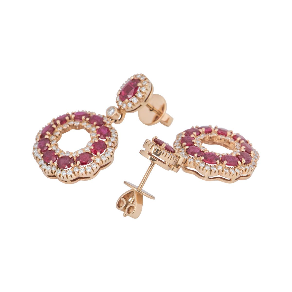 Rose Gold Diamond And Ruby Earrings